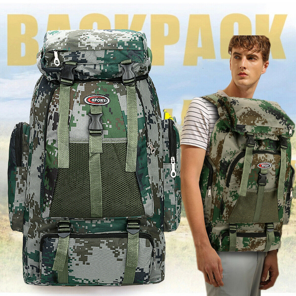 Outdoor Military Tactical Army Backpack Sports Waterproof Hiking Camping Bag Travel Backpack Luggage Rucksack