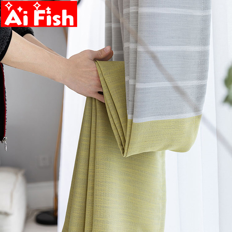 Simple Yellow-Gray Linen Curtains For Bedroom Blackout Drapes Nordic White Sheer Curtain Fabrics For Balcony Decoration MY161-4