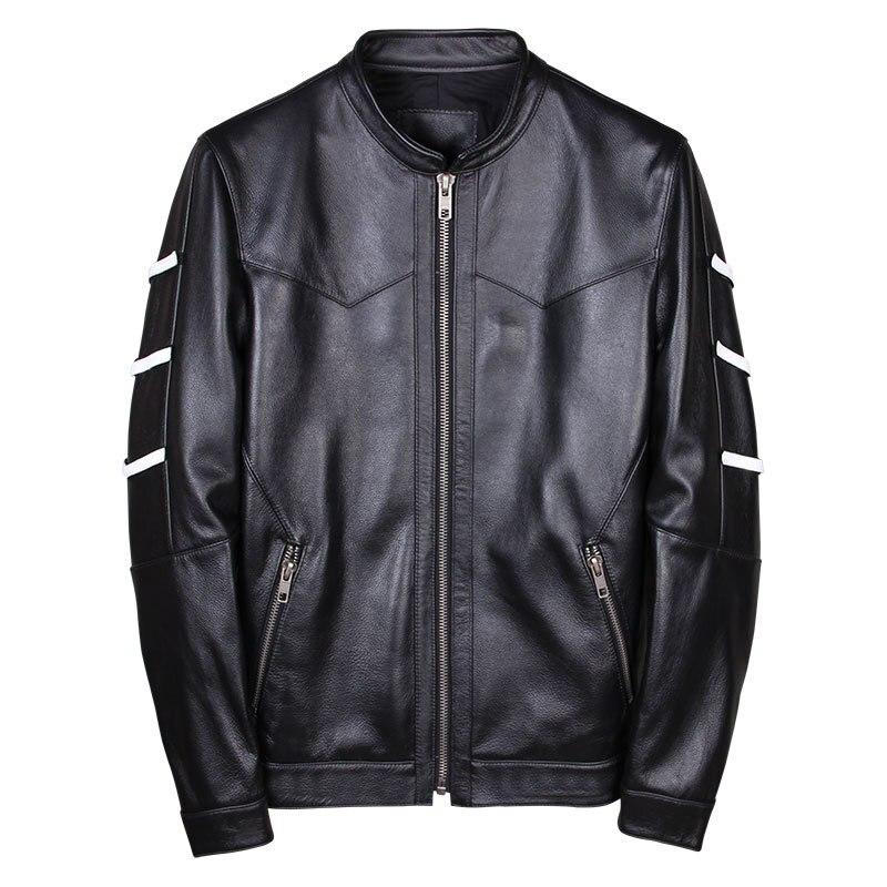 Genuine Leather Jacket Men Cow Leather Jacket Korean Motorcycle Slim Bomber Mens Leather Jacket Jaqueta De Couro 19001 YY998
