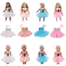 2019 American doll accessories wafer dress + bow hair band for 18 inch 43cm baby clothes, generation, gift