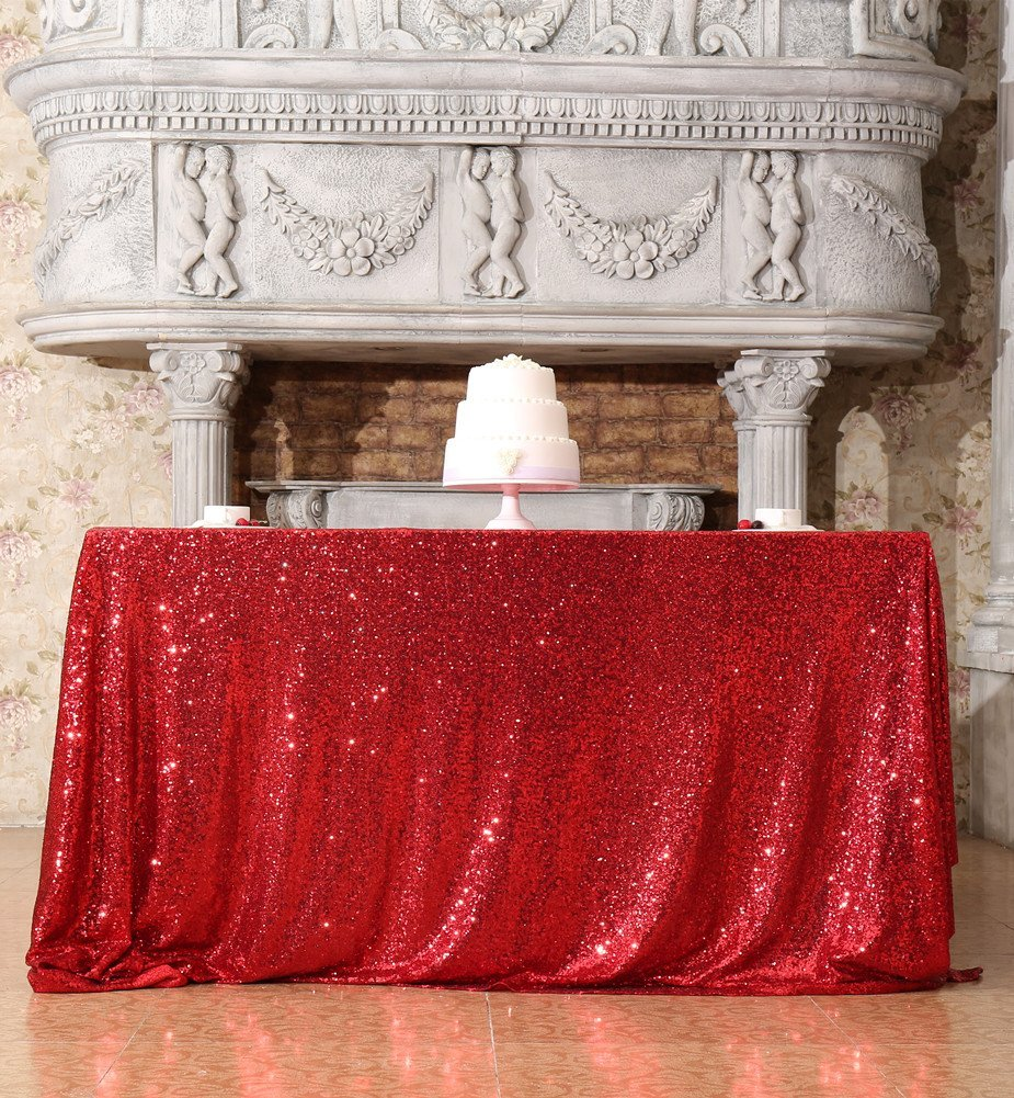 72x108-Inch Rectangular SequinTablecloth Red Sequin Fabric Tablecloths Glitter Table Cover For Parties-M0930