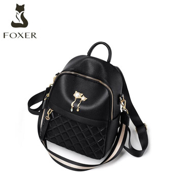FOXER women Genuine Leather bags fashion real cowhide bag Leisure Large capacity women backpack high quality cowhide bag фото