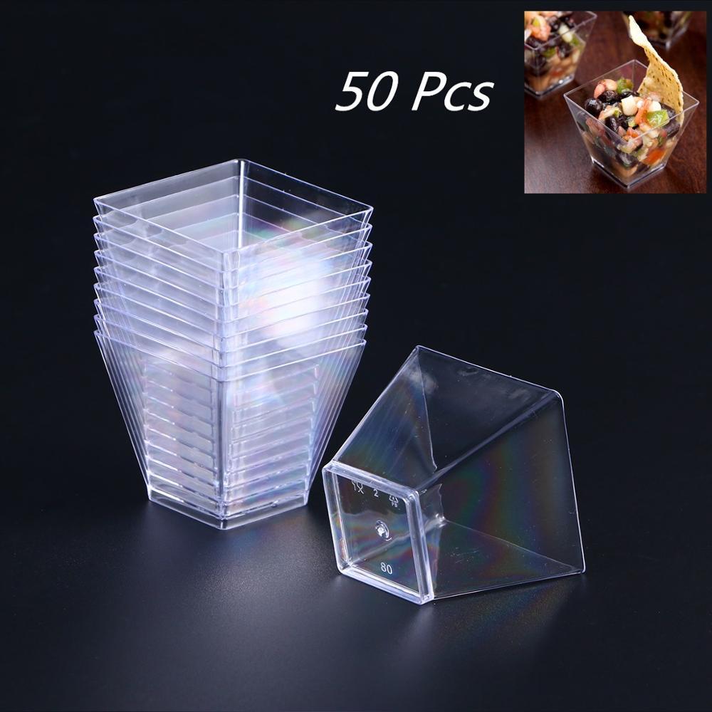 50Pcs 2oz/60ml Disposable Mini Square Dessert Cup Cube Plastic Sample Dish Cake Jelly Pudding Cups Party Kitchen Accessories