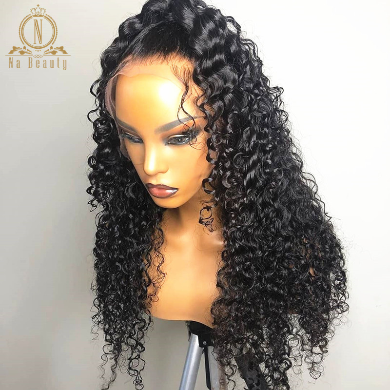 Curly Human Hair Wig 360 Lace Frontal Wig Pre Plucked With Baby Hair Brazilian 13x6 Lace Front Wig Black Remy Hair For Women