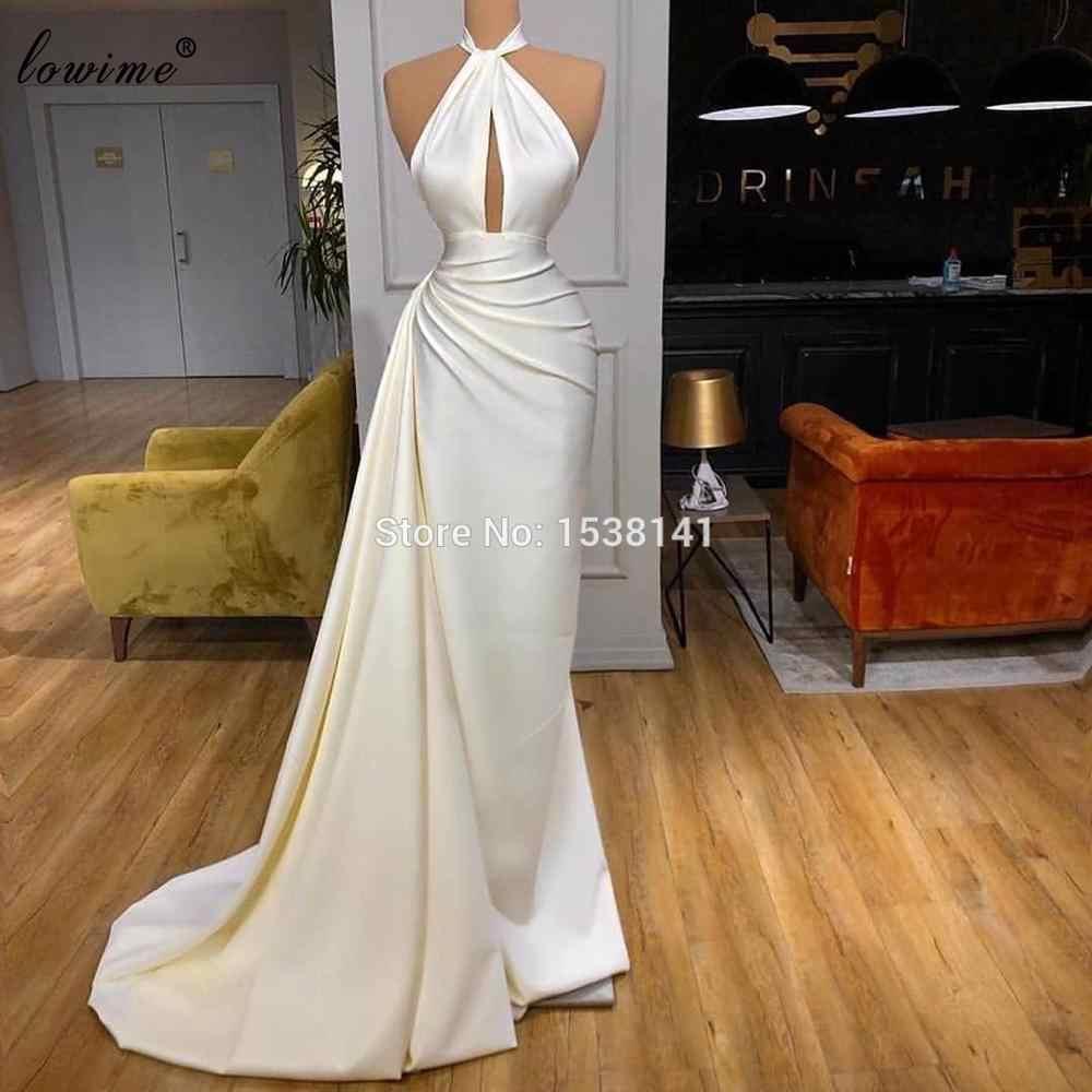 Женские простые элегантные платья знаменитостей, белые вечерние платья русалки, сексуальные платья для выпускного вечера, турецкие вечерние платья от кутюр