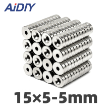 aidiy 10/20 pcs 15x5mm Hole 5mm N35 Super strong ring countersunk magnets  permanent neodymium magnet