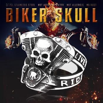 BEIER nueva llegada 316L anillo de acero inoxidable de alta calidad Punk skull biker para hombres joyería de moda regalo BR8-668