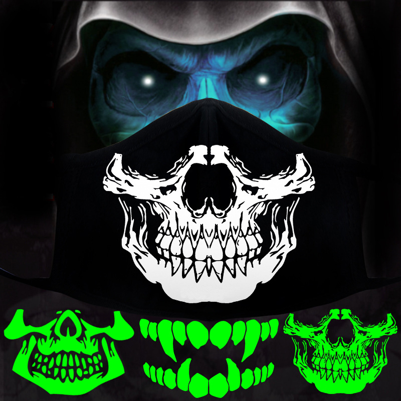 Woman Men Glow Dark Skull Scarey Masks Black Mouth Half Face Masquerade Cosplay Costume Mask DIY Halloween Party Decorations
