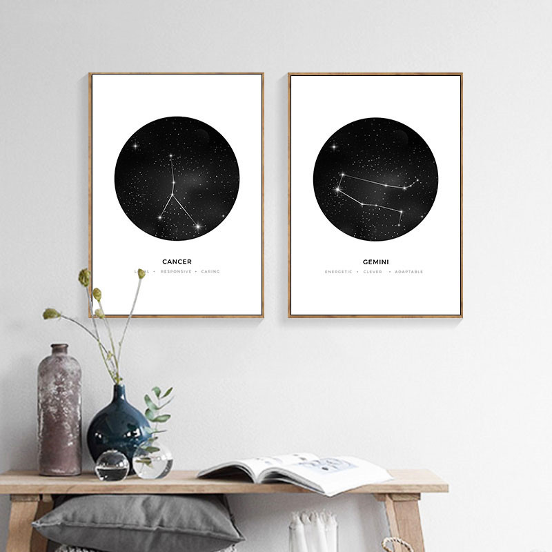 30x40cm Constellation Wall Canvas Painting Geometric Astrology Home Decor Craft