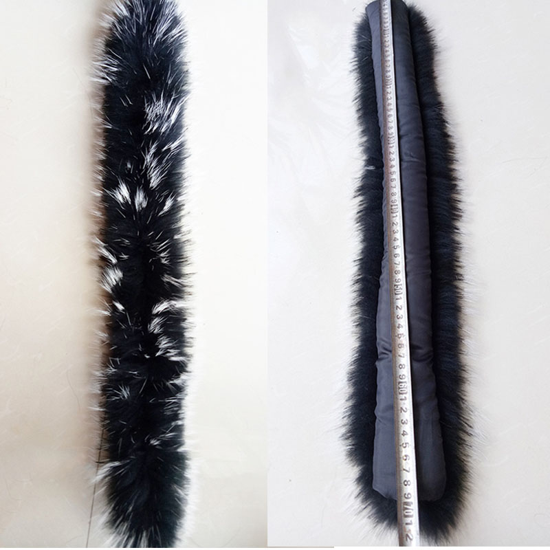 Image 5 - Qearlstar 2019 Real Raccoon Fur Collars Black Fur Scarf Women Winter Coat Parka Jackets Real Fur Hood Trim Collar 70*12cm Zxx122-in Women's Scarves from Apparel Accessories