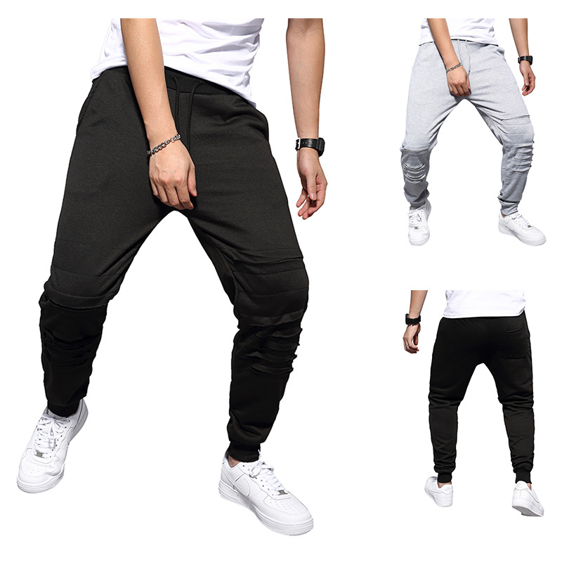 2019 Ouma Autumn New Style Casual Solid Color With Holes Popular Elasticity Gymnastic Pants Zk37