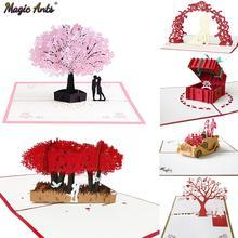 Tarjetas Pop-Up 3D de amor, postal de regalo del Día de San Valentín con pegatinas para sobres, invitación de boda, tarjetas de felicitación, aniversario para ella