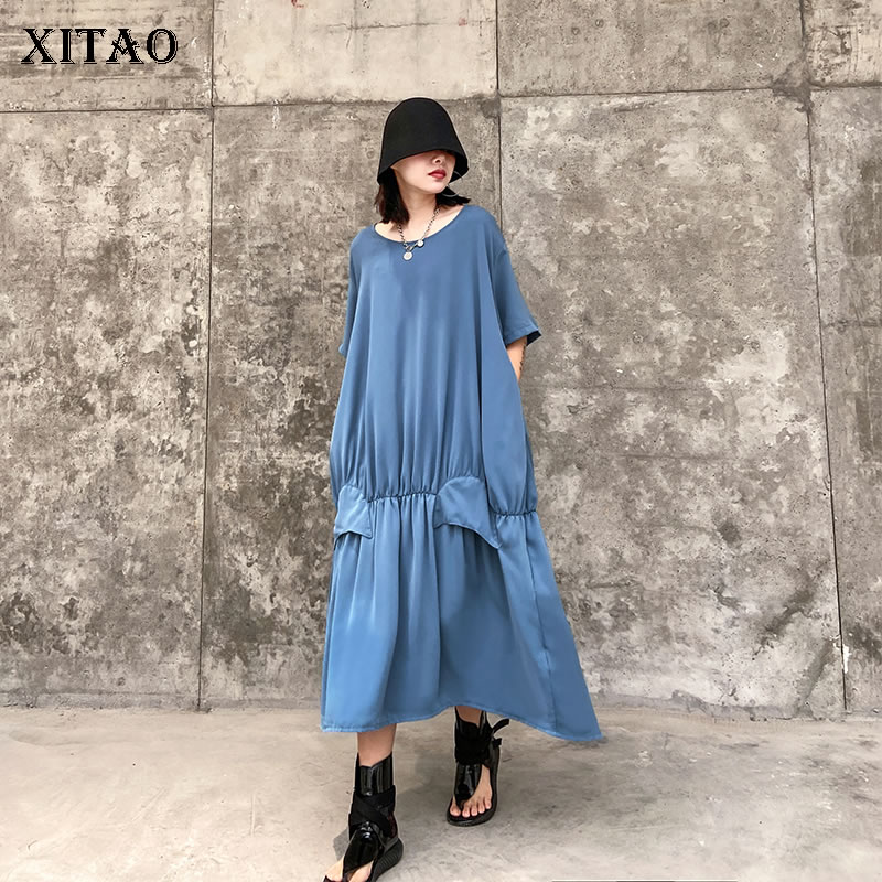 XITAO Niche Style Chiffon Loose Plus Solid Color Short Sleeve Size Patchwork Dress 2020 Summer Fashion New Dress Women XJ4535(China)