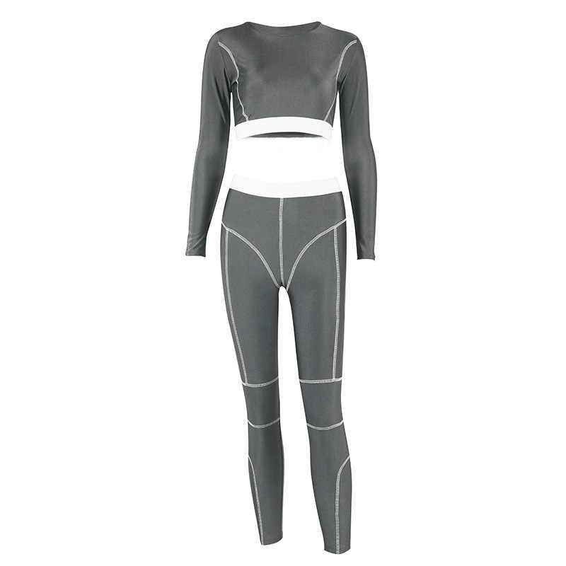 女性のシームレスなヨガセットジム服フィットネスクロップシャツスポーツスーツ女性長袖スポーツトラックスーツアクティブヨガセット 2019