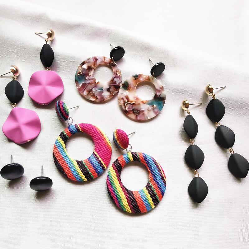 Charm Statement Dangle Earrings Fashion Jewelry Big Hanging Drop Earrings Set Party Jewelry Gift Korean Round Earrings For Women