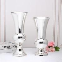 High grade metal European vase Silver home living room Table Banquet Hotel decoration Wedding decoration