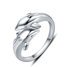 Cute Female Double Dolphin Animal Ring Fashion 925 Sterling Silver Adjustable Rings For Women Funny Love Wedding Engagement Ring(China)