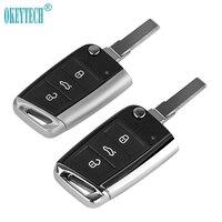 Okeytech  case de chave de carro  capa com 3 botões de flip remoto  dobrável  capa para chave  para v w golf 7  para mk7  skoda octavia a7 para seat hu66 blade