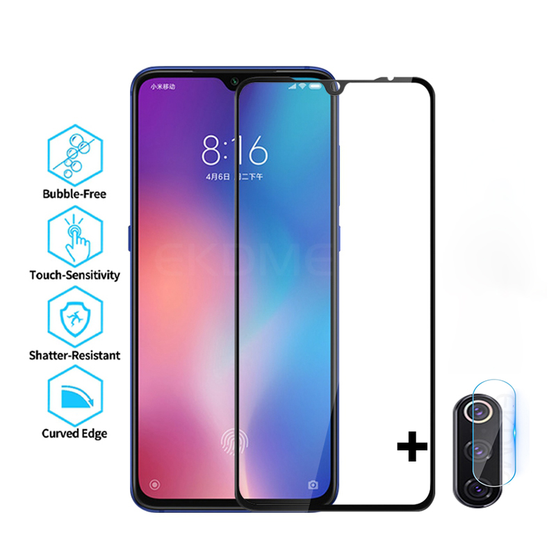 Full Cover Glass For Xiaomi Mi 9 Mi9 SE CC9 A3 Lite Screen Protector For Redmi Note 8 Pro 8T 8 8A Tempered Glass + Camera Glass