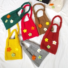 Fashion Kids Girls Cute Crossbody Bag New Toddler Baby HandmadeFlower Knitting Messenger Bags Shoulder Wallet