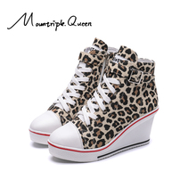 2019 New Fashion Women High Top Canvas Sneakers Wedges Shoes Side Zipper Heightened Denim Ankle Lace Up MQ