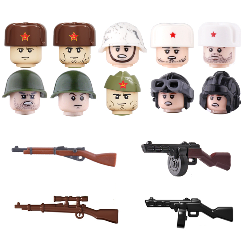 WW2 Soviet Union Army Soldiers Figures Weapon Building Blocks Soldiers Figures Guns PPSH41 Weapons Parts Bricks Toy For Children