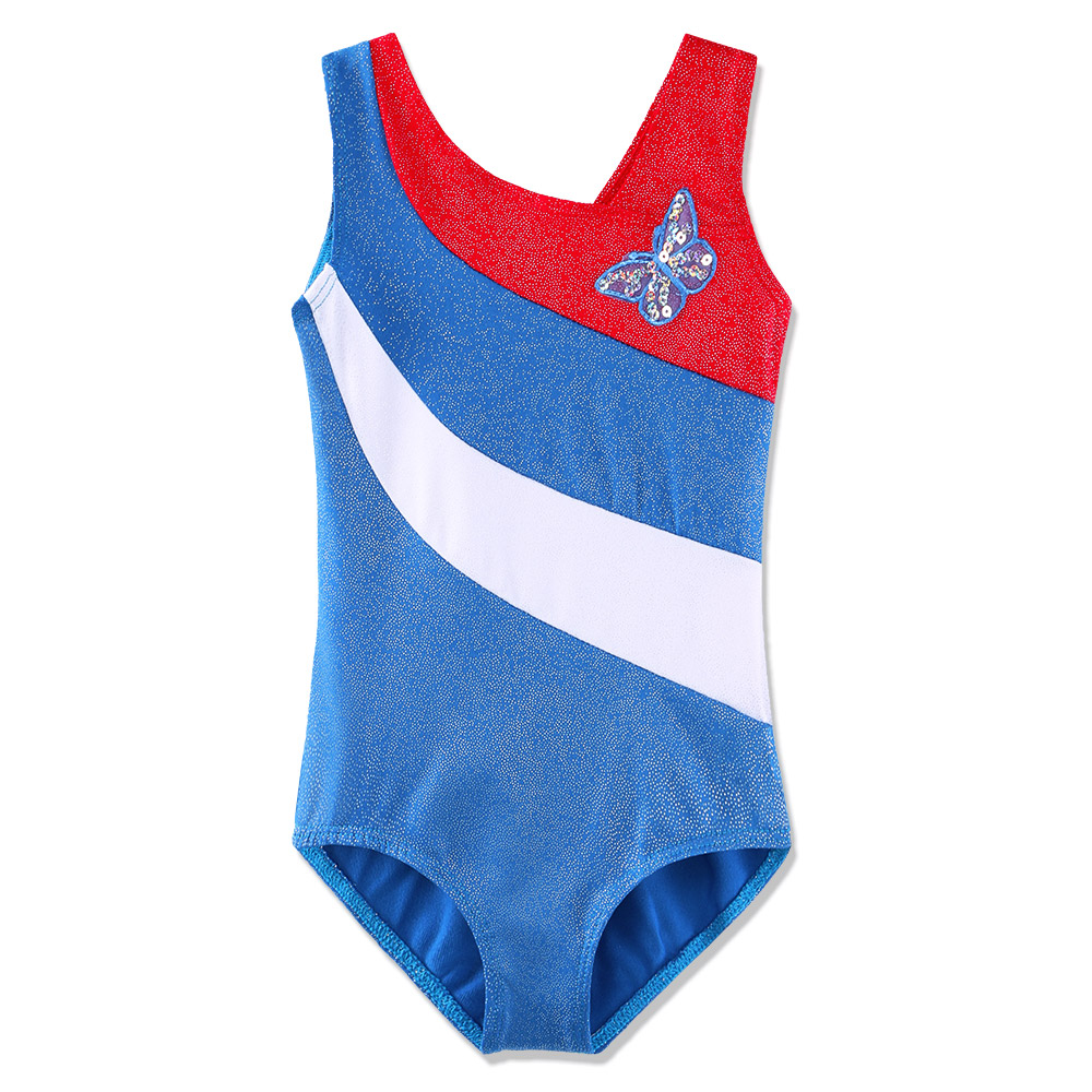 BAOHULU 3-12 Years Girls <font><b>Gymnastics</b></font> Leotard Butterfly Sleeveless Leotard for <font><b>Kids</b></font> Toddler Ballet Bodysuit Dance-Wear Children image