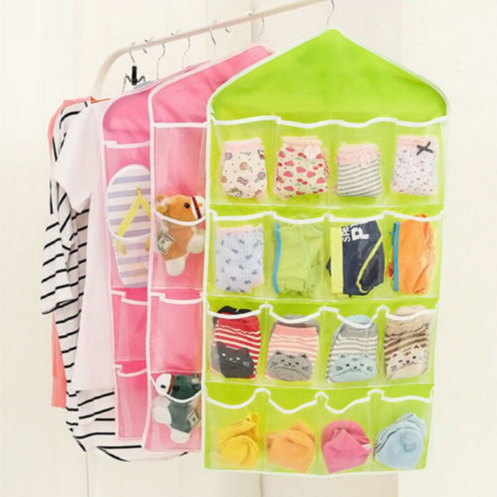 16 Pockets Clear Over Door Hanging Bag Hanger Storage Tidy Organizer For Home Bathroom Living Room Household Sundries