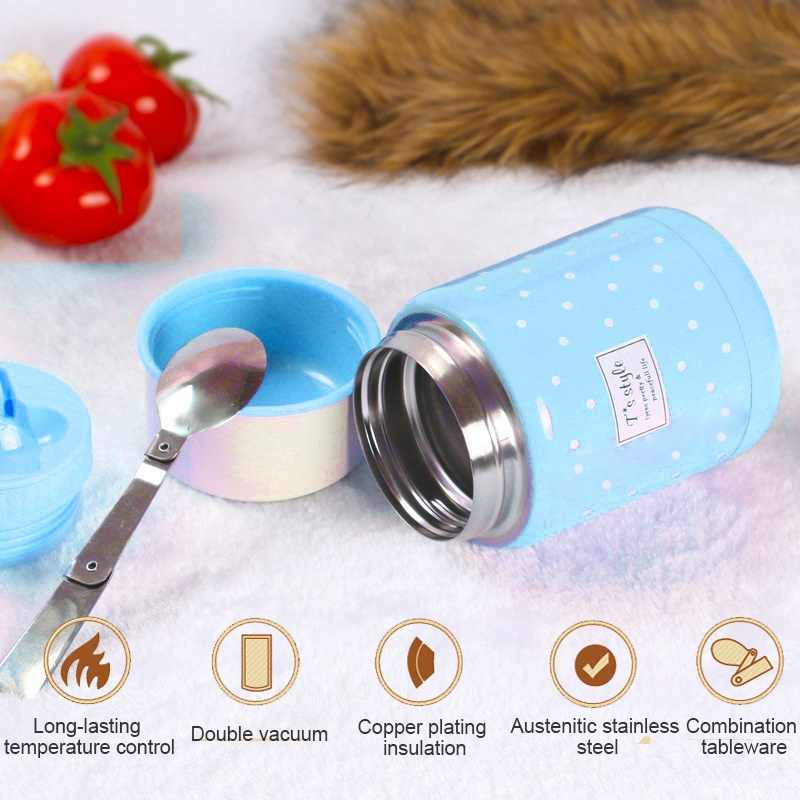 Food Jar Thermos and Folding Spoon Thermal Lunch Box Children Termos Colorful Soup Jar Portable Bag For Food With Container New