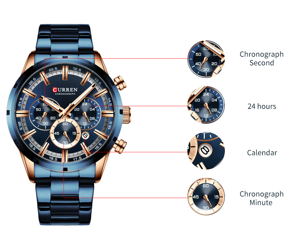 CURREN New Fashion Mens Watches with Stainless Steel Top Brand Luxury Sports Chronograph Quartz Watch Men Relogio Masculino Haf1d37b0684840c6b4867ad168cdce07j