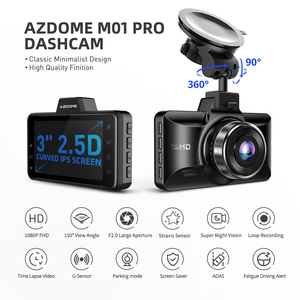 "Image 2 - AZDOME 3 ""M01 פרו רכב DVR IPS מסך 1080P כפול עדשת מצלמת מקף נהיגה מקליט ראיית לילה G חיישן לולאה הקלטת מצלמה רכב"