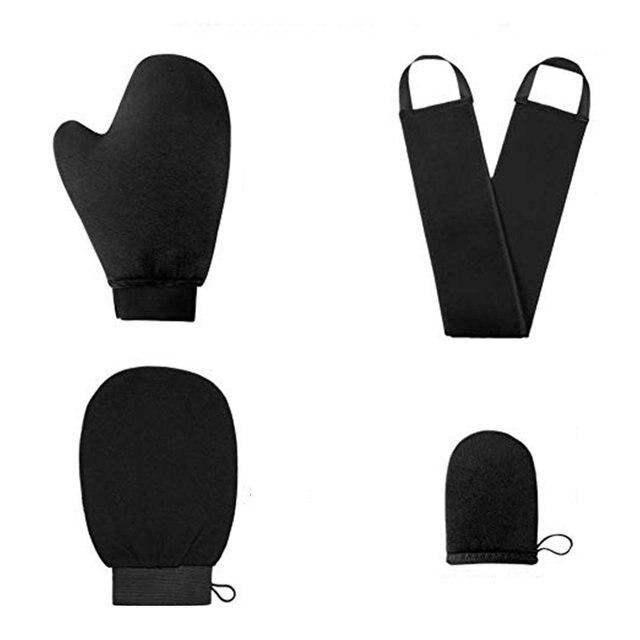 4pcs Shower Scrub Mitt Magic Peel Glove Exfoliating Tan Removal Mitt Self Tanner Body Cleaning Cream Mousse Self Tan Applicator 3