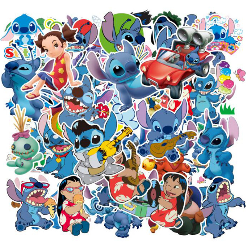 55Pcs/Set Classics Lilo Stitch Cute Cartoon Stickers Scrapbook Stickers For Luggage Laptop Notebook Car Motorcycle Toy Phone