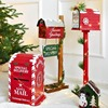 Christmas Decor Floor Letterbox Postbox Home Outdoor Wood Christmas Party Decoration Handmade Wooden Craft Mailbox Home Decor