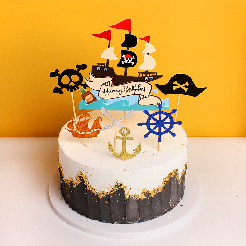 Pirate Theme Happy Birthday Paper Cake Topper Pirate Ship Skull Birthday Cake Topper Kid Birthday Party Cake Decoration Supplies