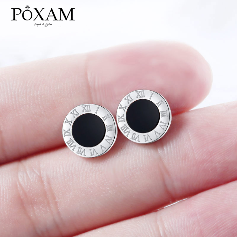 POXAM Korean Round Crystal Stud Earrings For Women Man Stainless Steel Roman Numeral Small Earrings Lady 2019 Fashion Jewelry
