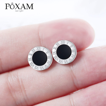POXAM Korean Round Crystal Stud Earrings For Women Man Stainless Steel Roman Numeral Small Lady 2019 Fashion Jewelry