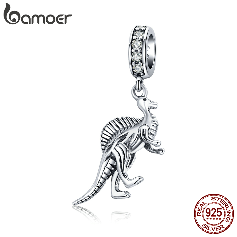 Bamoer 925 Sterling Silver Dinosaur Cretaceous Animal Pendant Charm Fit Original Silver Snake Bracelet Bangle Jewelry SCC1431