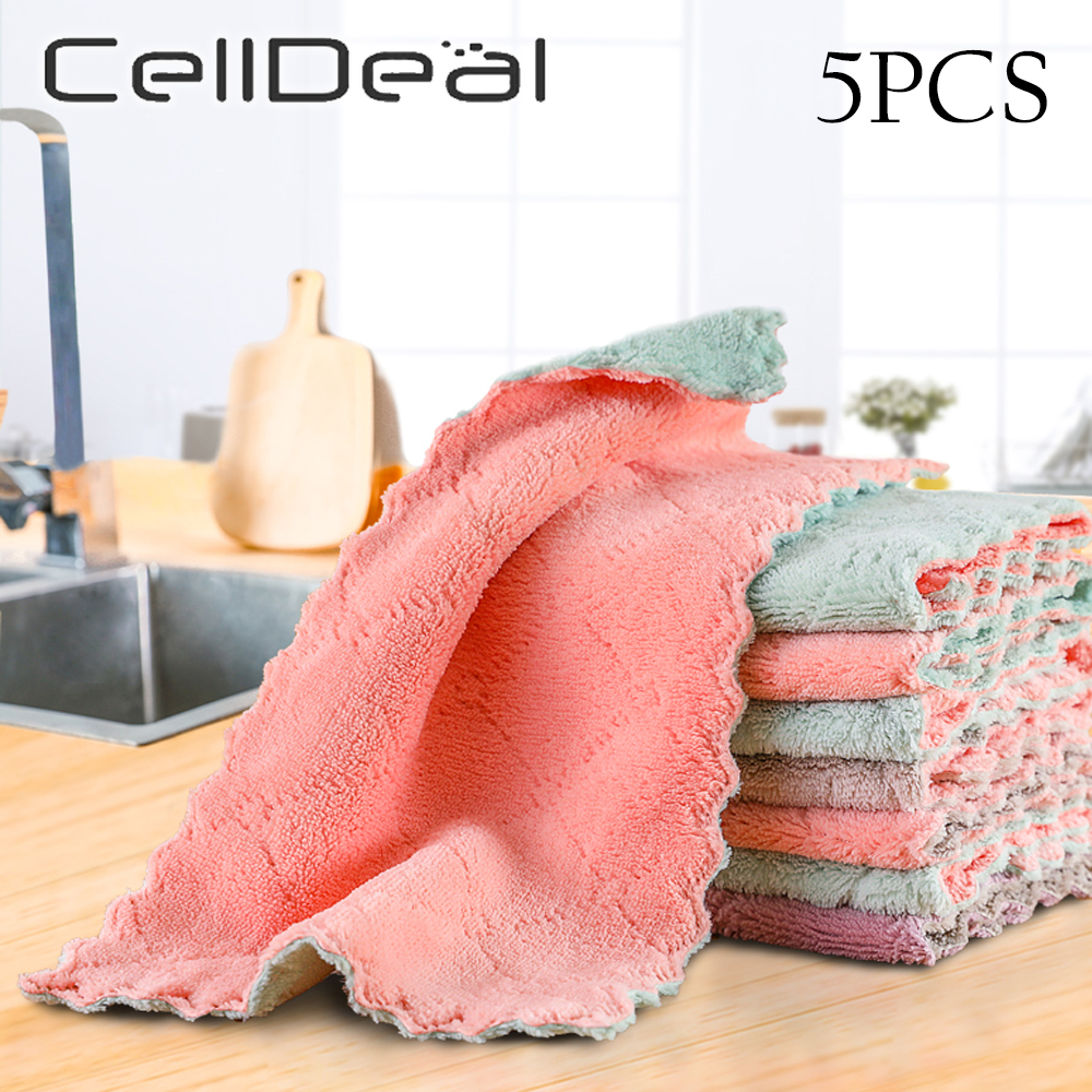 1/5pcs Is Cheaper Double layer Absorbent Microfiber Kitchen Dish Cloth Non stick Oil Household Cleaning Wiping Towel Kichen Tool