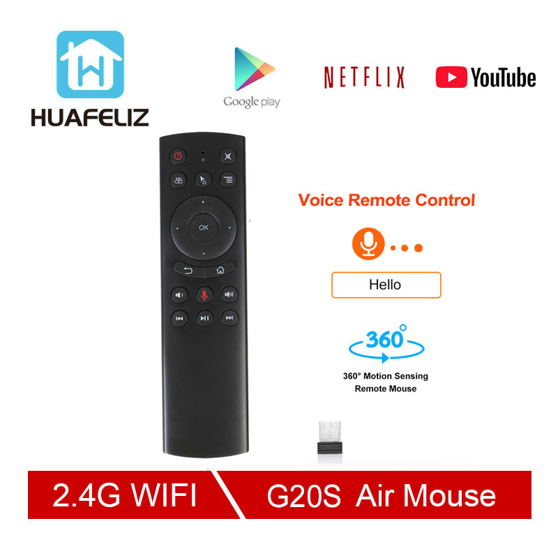 G20 Voice Control 2.4G Wireless G20S Fly Air Mouse Gyro Keyboard Motion Sensing Mini Remote Control For Android TV Box PK G30(China)
