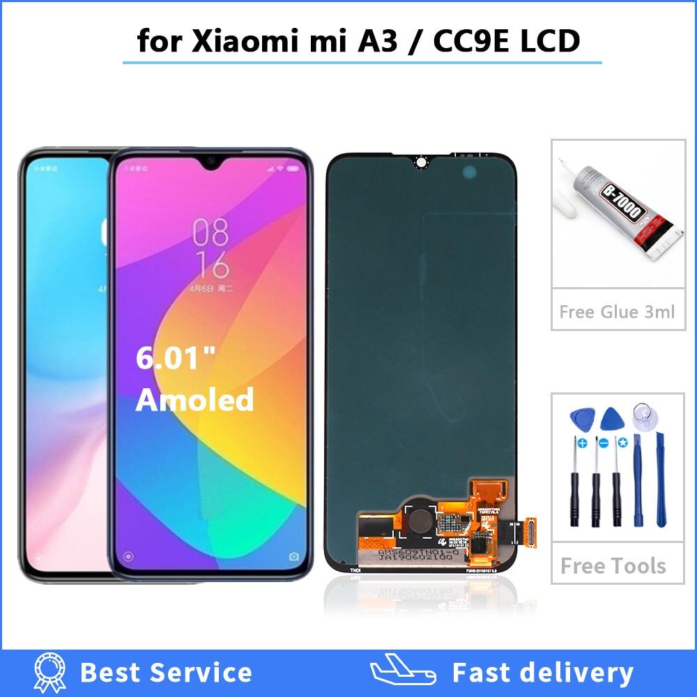 Tela lcd de reposição para xiaomi mi a3, display de reposição para celular, 6.01