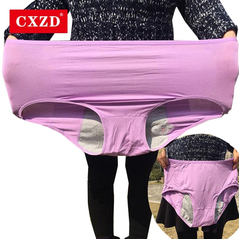 Женские хлопковые трусы CXZD, менструальные трусики большого размера 4XL с высокой талией 110 кг, герметичные трусы размера плюс, нижнее белье