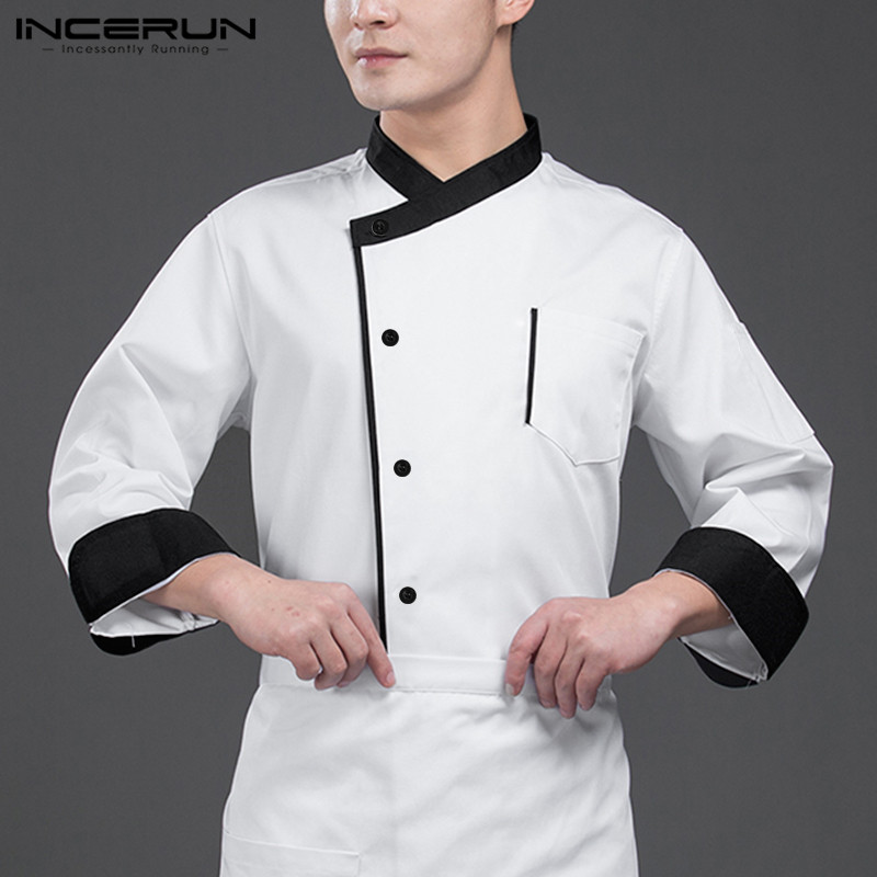 INCERUN Chef Uniform Unisex Food Service Long Sleeve Patchwork Button Up Restaurant Kitchen Men Chef Jackets Catering Costumes