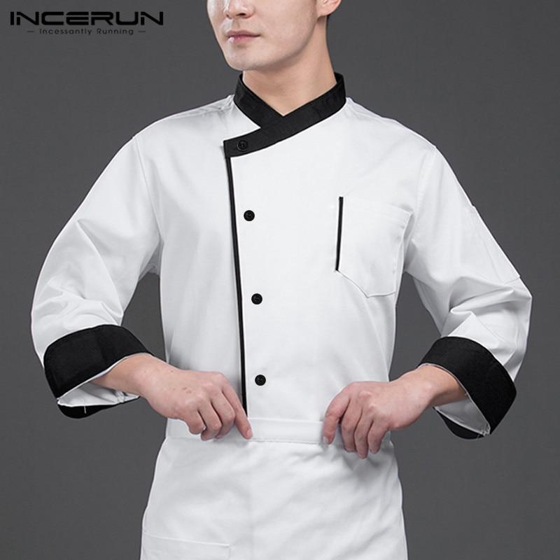 INCERUN Chef Uniform Unisex Food Service Long Sleeve Patchwork Button Up Restaurant Kitchen Men Chef Jackets Catering Costumes