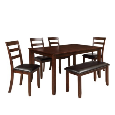 US $567.92 40% OFF|6pc Dining Set with 4 Ladder Chairs and Bench, Espresso  dinning table set dining table kitchen table modern dining room set on ...
