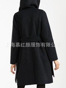 Image 5 - Elegante Sólida Longo Casaco de Lã Das Mulheres Longo Fino Outono Inverno Jaqueta Casaco de Cashmere Quente Bolsos Preto Vermelho Do Vintage 2019