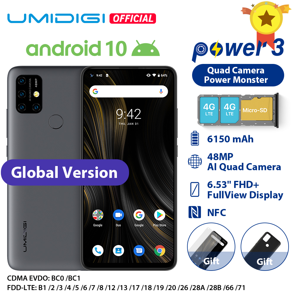"UMIDIGI Power 3 48MP Quad AI Camera 6150mAh Android 10 6.53"" FHD+ 4GB64GB NFC Mobile Phone Triple Slots 10W FastReverse Charging"