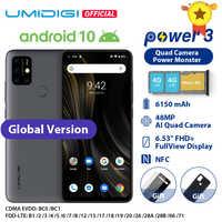 """UMIDIGI di Alimentazione 3 48MP Quad AI Fotocamera 6150mAh Android 10 6.53 """"FHD + 4GB64GB NFC Del Telefono Mobile Triple slot 10W FastReverse di Ricarica"""