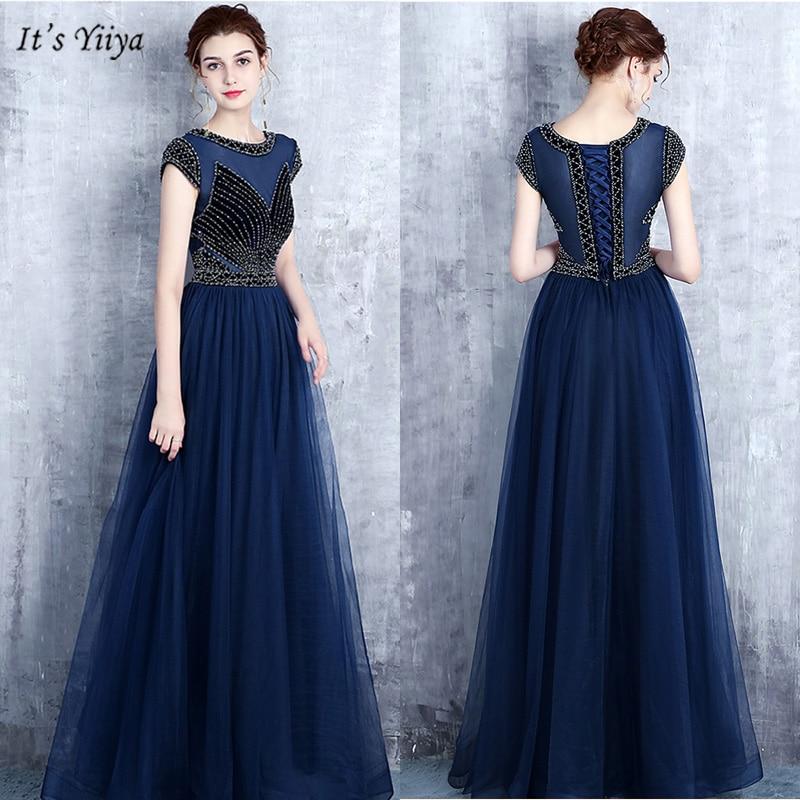 It's Yiiya Evening Dress 2019 Elegant Short Sleeve O-Neck Robe De Soiree Navy Blue Floor-Length Women Party Dresses V163