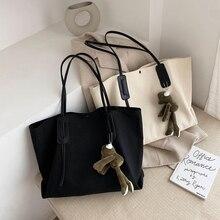 Korean Canvas Handbag Charms Cute Shopping Shoulder Large Capacity Handbag Minimalist Casual Bolso Mujer Ladies Bag DE50ST
